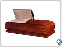 Arlington -  Eastern Poplar Orthodox casket, no handles, solid wood bottom, Starlight Crepe interior, Star of David, recessed hand grips. Size: 81 x 26 1/2 – Calvary 72 x 26 1/2