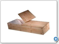 Pine Orthodox coffin, (unfinished wood) no handles or interior. Reg. Size: 22 wide 15 depth 78 length Short Size: 22 wide 15 depth 72 length