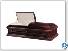 Derry - Hardwood Poplar casket, Mahogany stained-high gloss finish, woodbar handle, Star of David, solid wood bottom, interior Crepe Rose tan material.