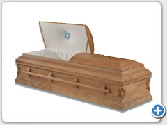 #821 Solid Oak Satin finished Orthodox casket, Oak wood bar handle, Star of David, Solid wood bottom, applied rail, interior Ivory Crepe material. Size 80 x 28 ½ - Calvary 72 x 28 ½