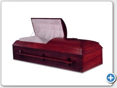 Tilton - Mahogany finished Cottonwood, Orthodox casket, composition bottom, interior Eggshell colored Crepe material.